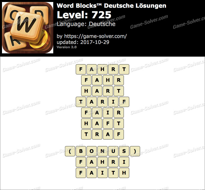 Word Blocks Level 725 Lösungen