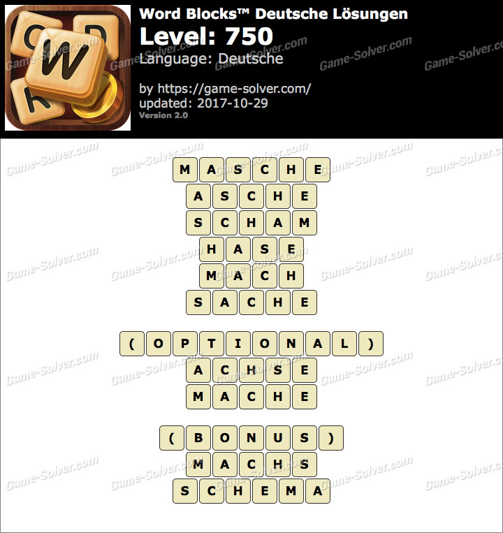 Word Blocks Level 750 Lösungen