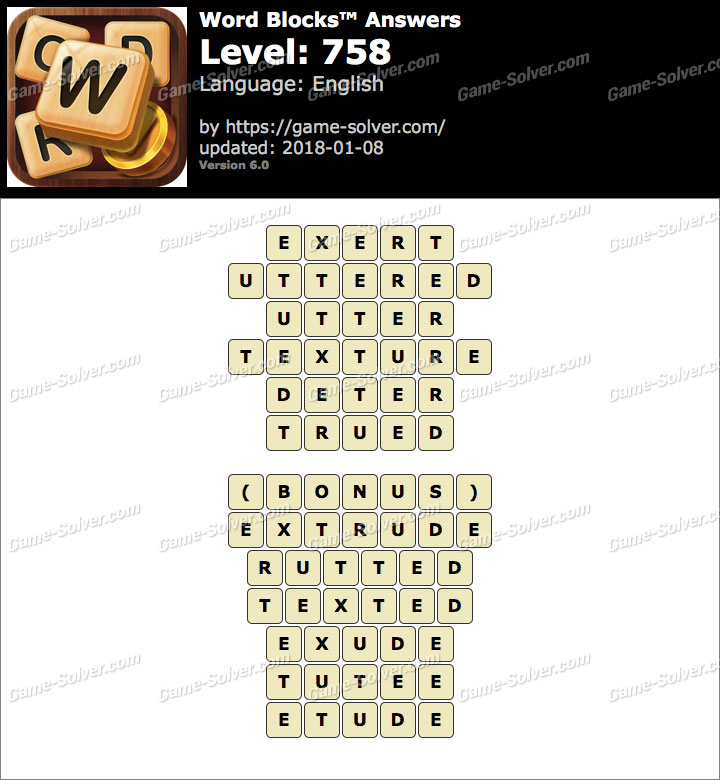 Word Blocks Level 758 Answers
