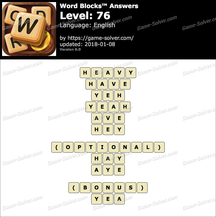 Word Blocks Level 76 Answers