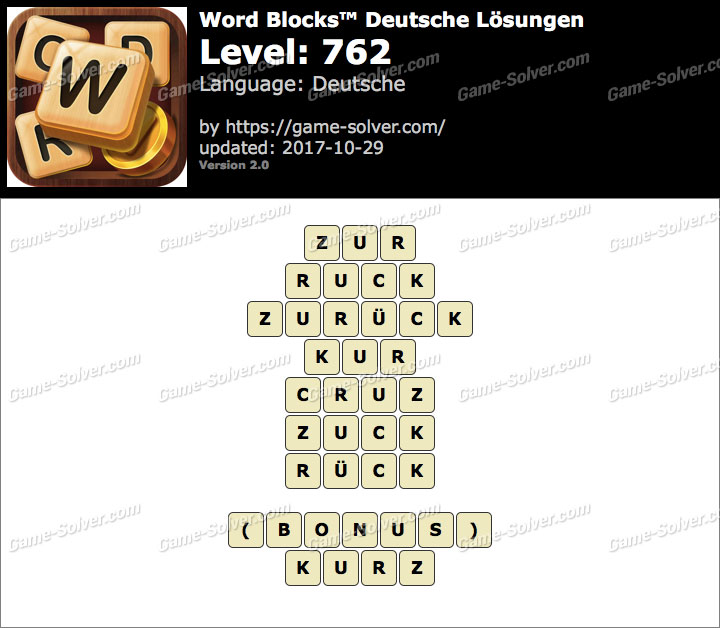 Word Blocks Level 762 Lösungen