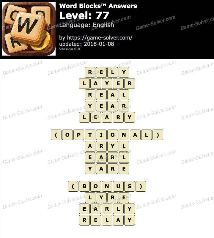 Word Blocks Level 77 Answers