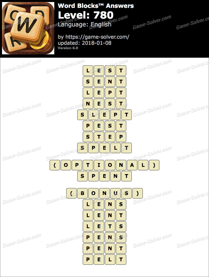 Word Blocks Level 780 Answers