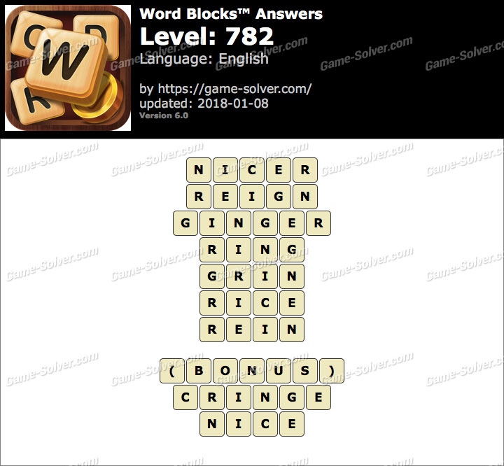 Word Blocks Level 782 Answers