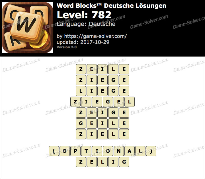 Word Blocks Level 782 Lösungen