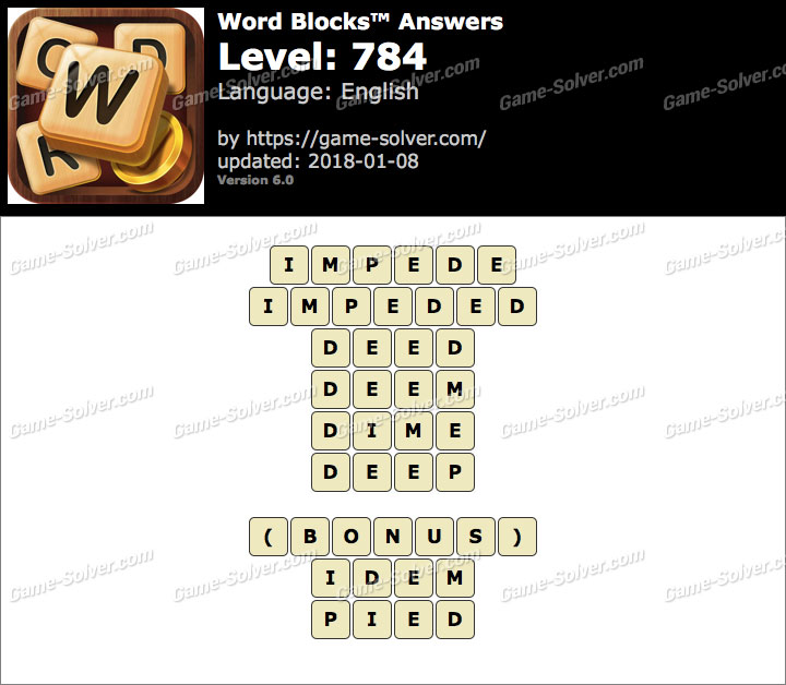 Word Blocks Level 784 Answers