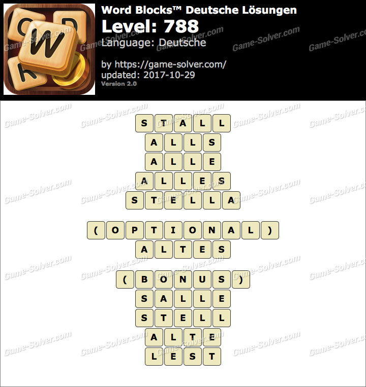 Word Blocks Level 788 Lösungen