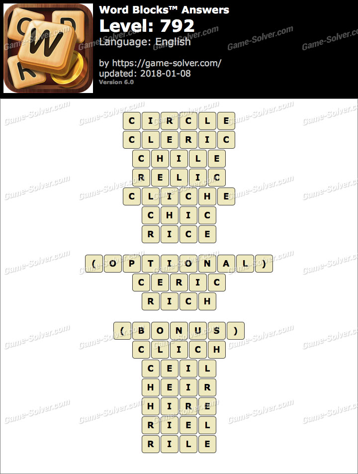 Word Blocks Level 792 Answers