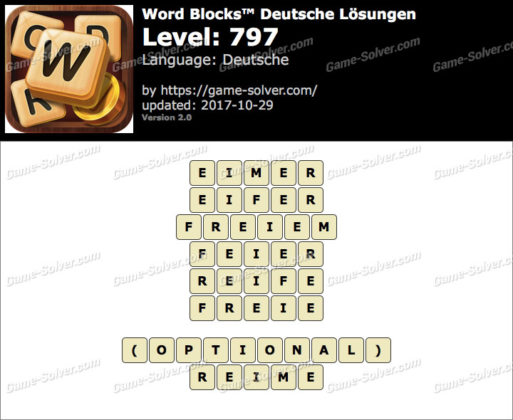 Word Blocks Level 797 Lösungen