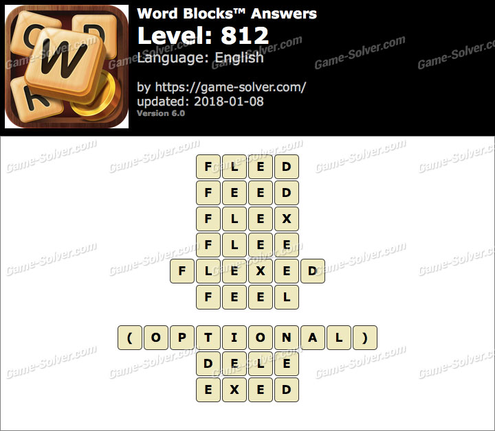 Word Blocks Level 812 Answers