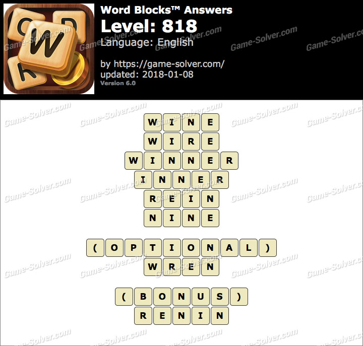 Word Blocks Level 818 Answers