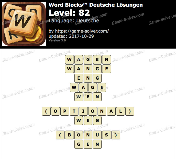 Word Blocks Level 82 Lösungen