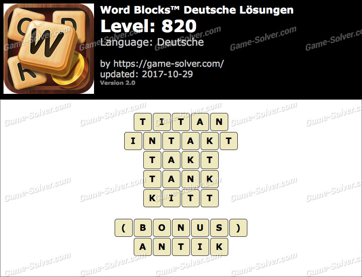 Word Blocks Level 820 Lösungen