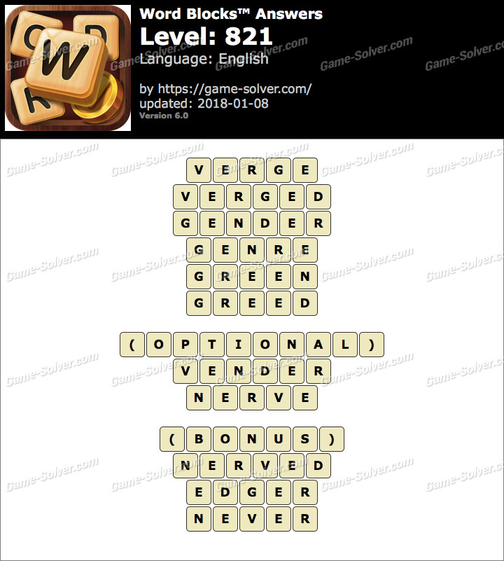 Word Blocks Level 821 Answers