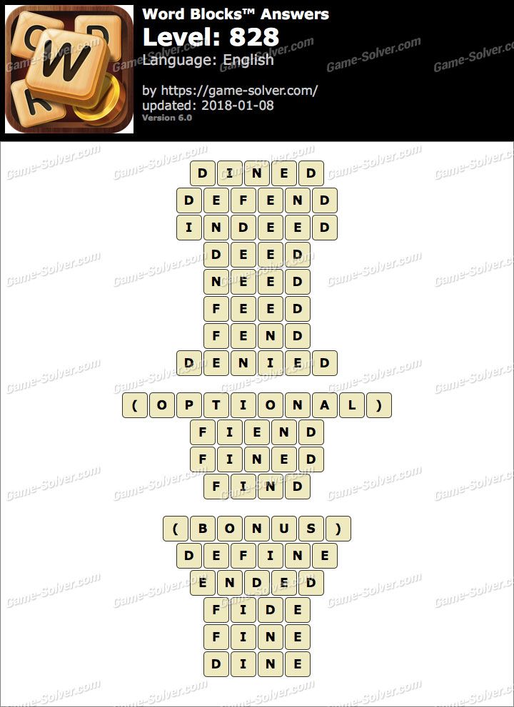 Word Blocks Level 828 Answers