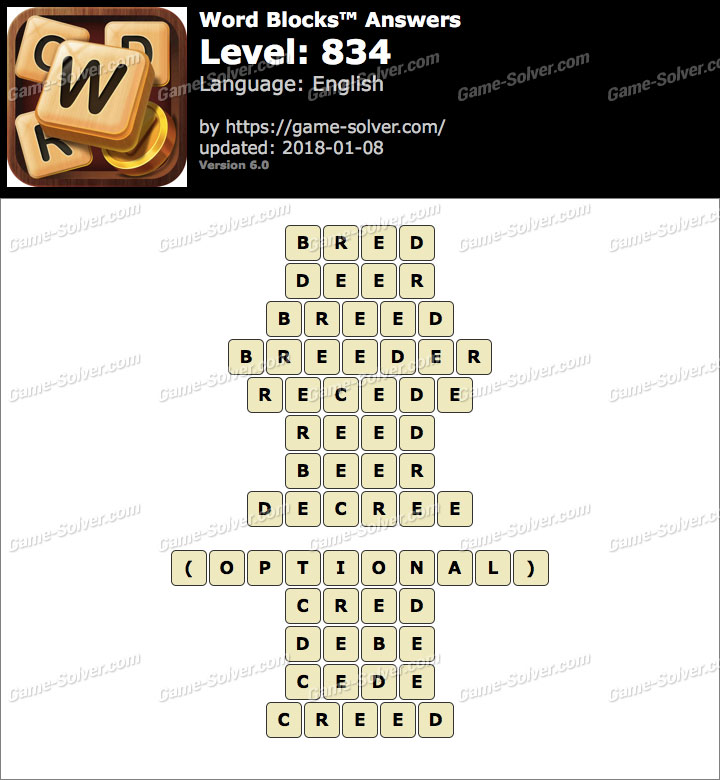 Word Blocks Level 834 Answers