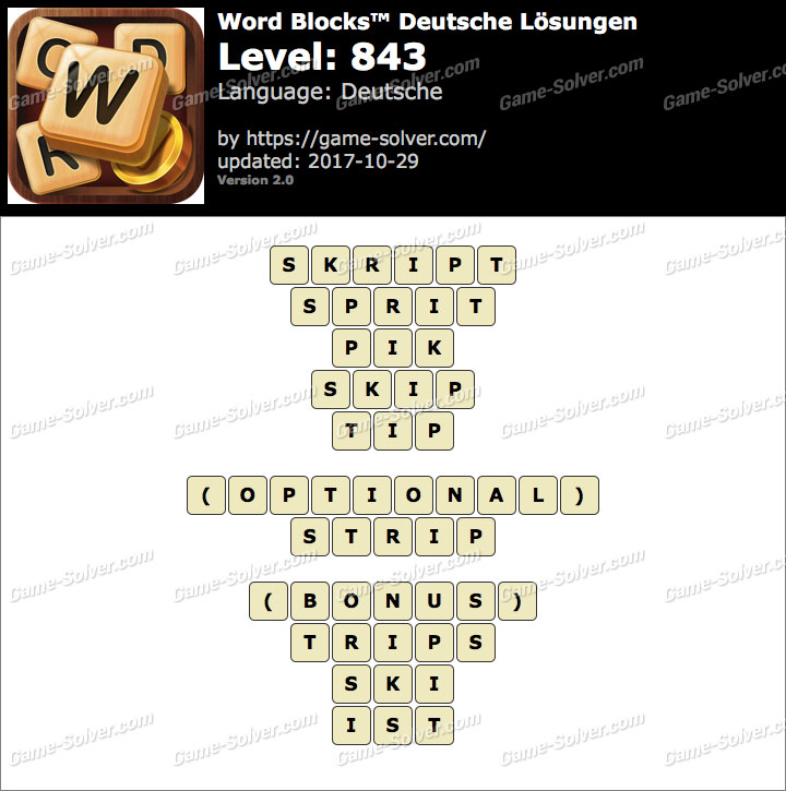 Word Blocks Level 843 Lösungen