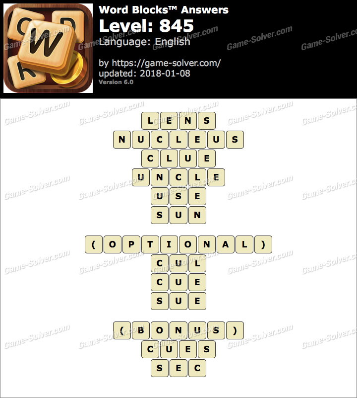 Word Blocks Level 845 Answers