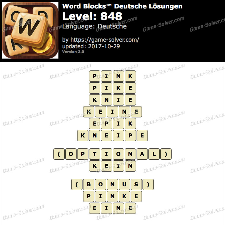 Word Blocks Level 848 Lösungen