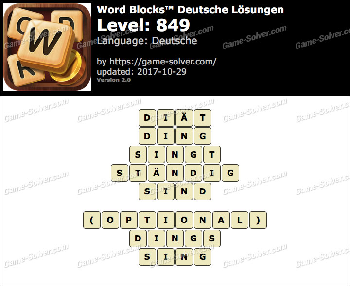 Word Blocks Level 849 Lösungen