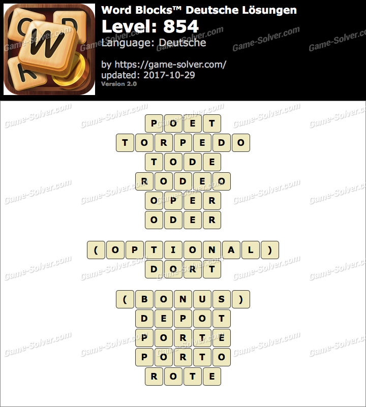 Word Blocks Level 854 Lösungen