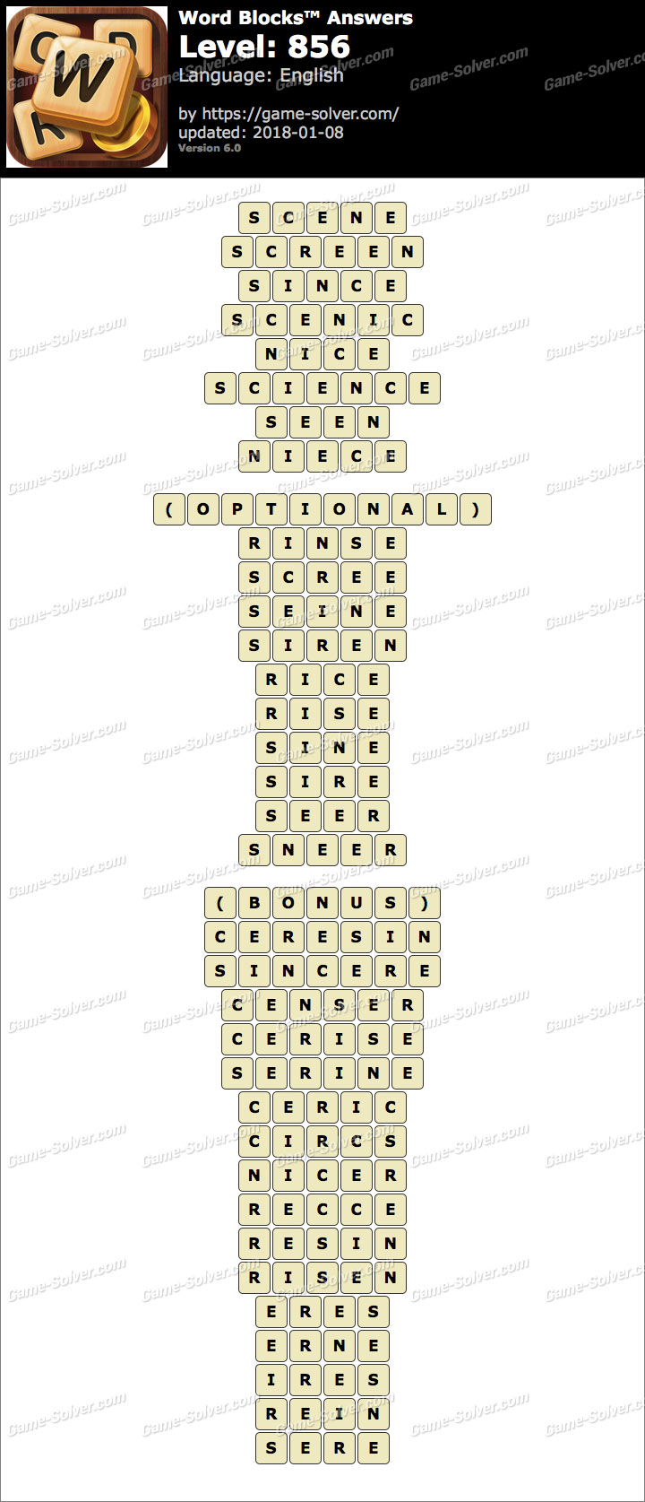 Word Blocks Level 856 Answers