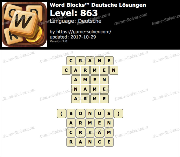 Word Blocks Level 863 Lösungen