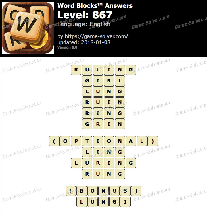 Word Blocks Level 867 Answers