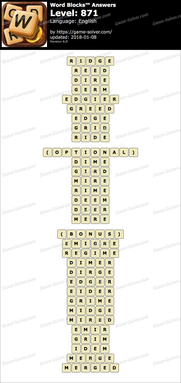 Word Blocks Level 871 Answers