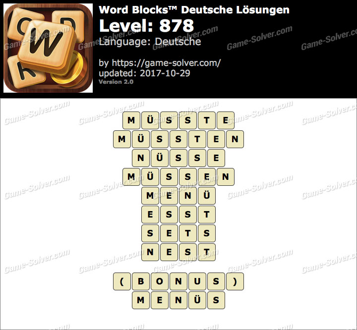 Word Blocks Level 878 Lösungen
