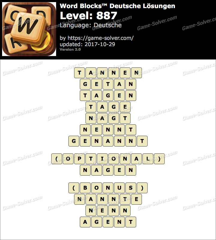 Word Blocks Level 887 Lösungen