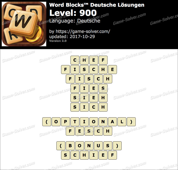 Word Blocks Level 900 Lösungen