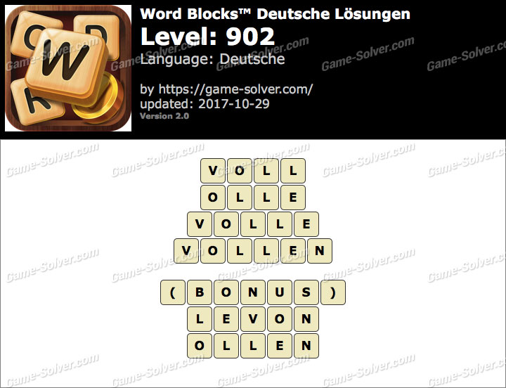 Word Blocks Level 902 Lösungen