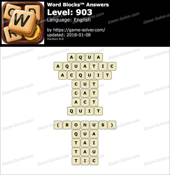 Word Blocks Level 903 Answers