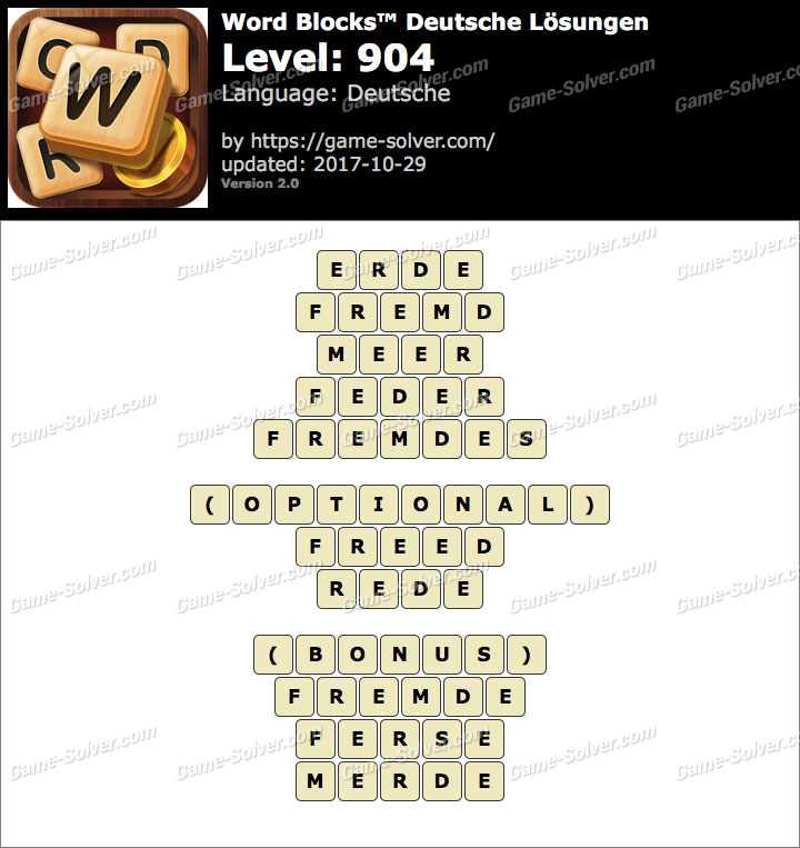 Word Blocks Level 904 Lösungen