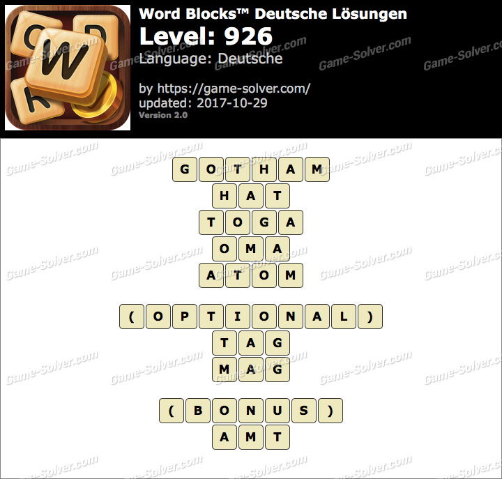 Word Blocks Level 926 Lösungen