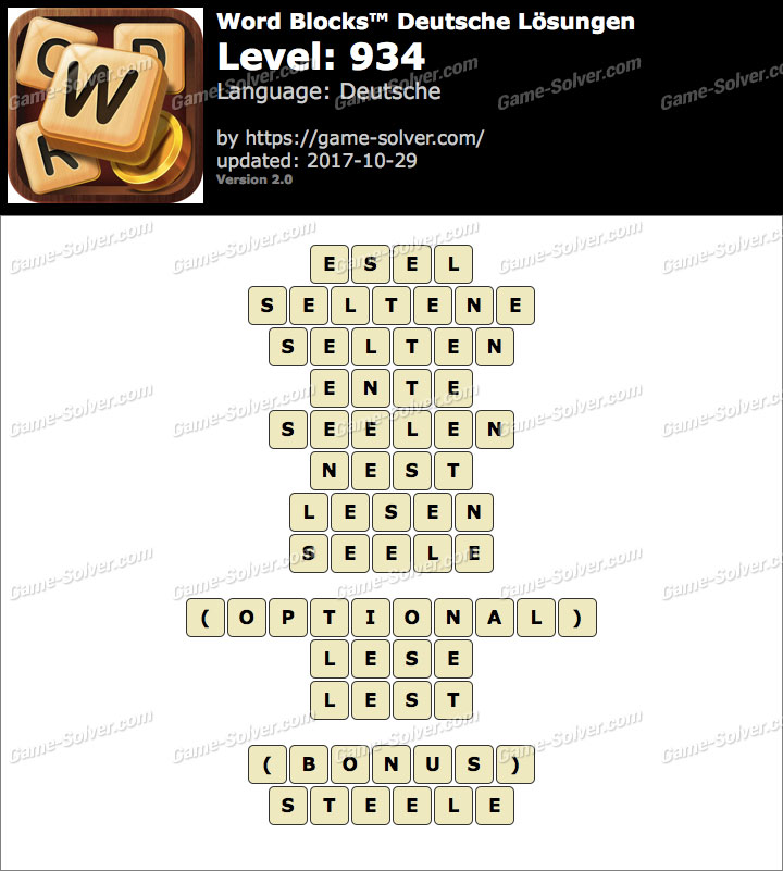 Word Blocks Level 934 Lösungen