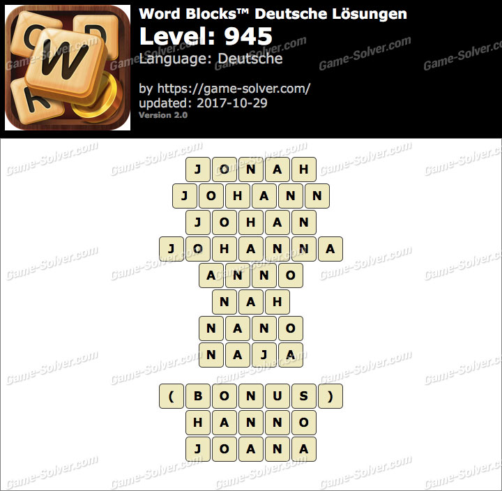 Word Blocks Level 945 Lösungen
