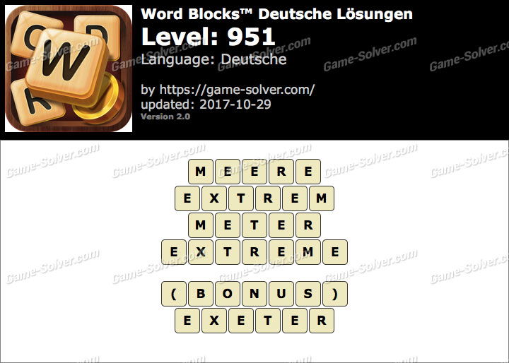 Word Blocks Level 951 Lösungen