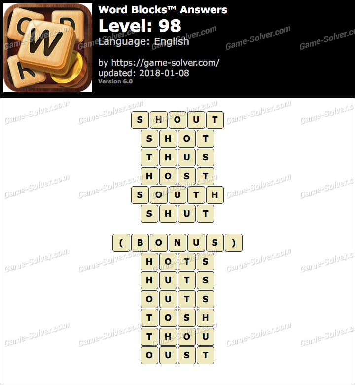 Word Blocks Level 98 Answers