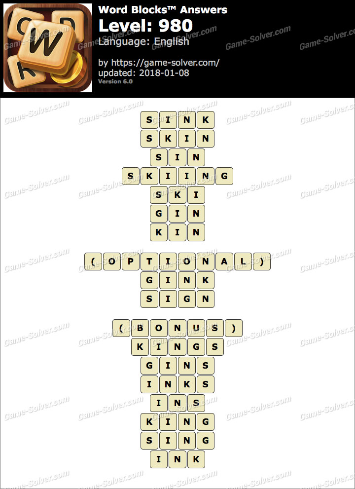 Word Blocks Level 980 Answers