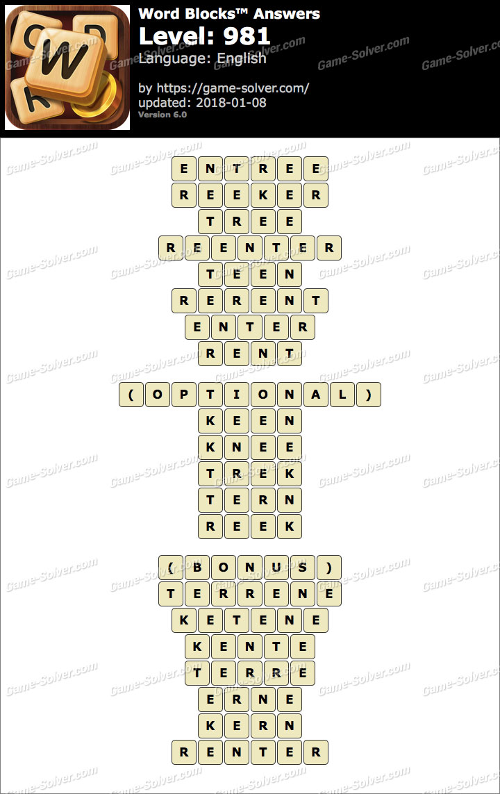 Word Blocks Level 981 Answers