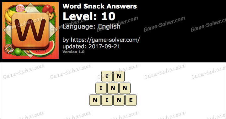 Word Snack Level 10 Answers