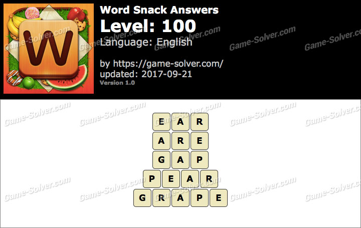 Word Snack Level 100 Answers