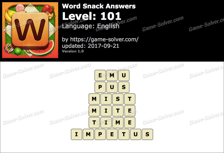 Word Snack Level 101 Answers