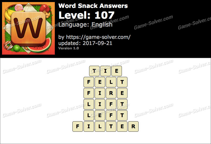 Word Snack Level 107 Answers