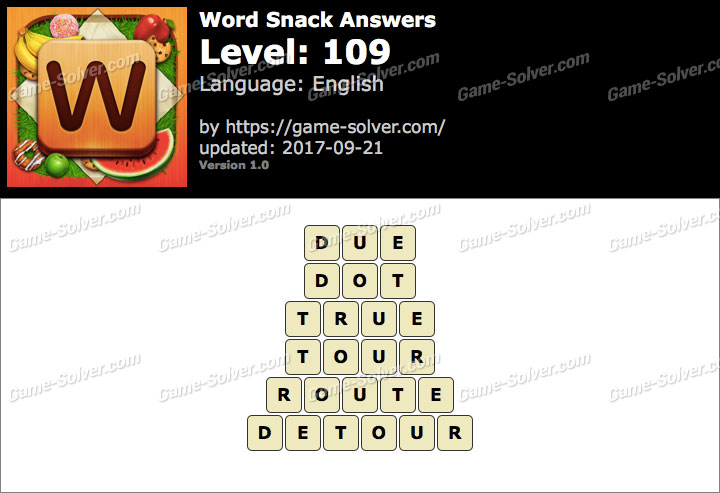 Word Snack Level 109 Answers