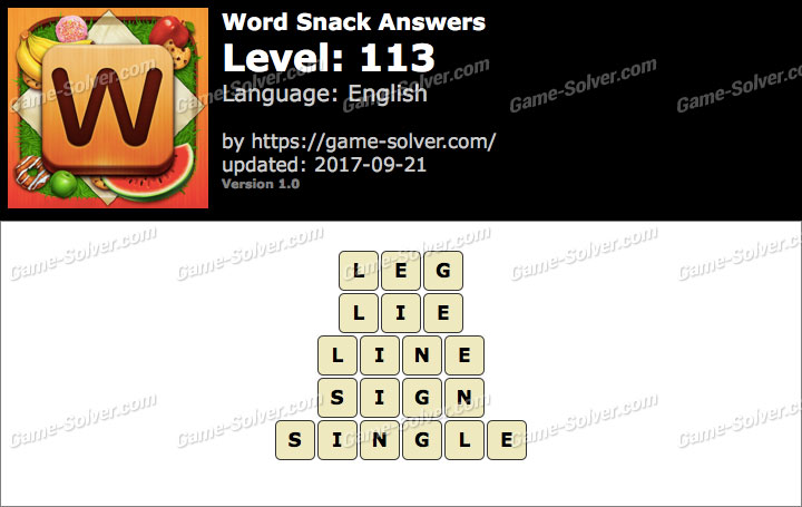 Word Snack Level 113 Answers