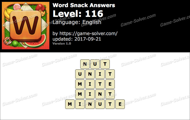 Word Snack Level 116 Answers