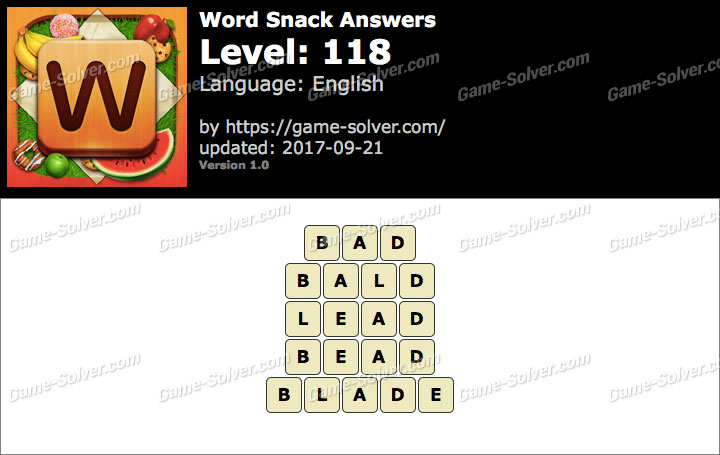 Word Snack Level 118 Answers